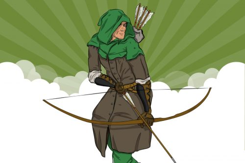 Cartoon of man in green hood cocking a bow