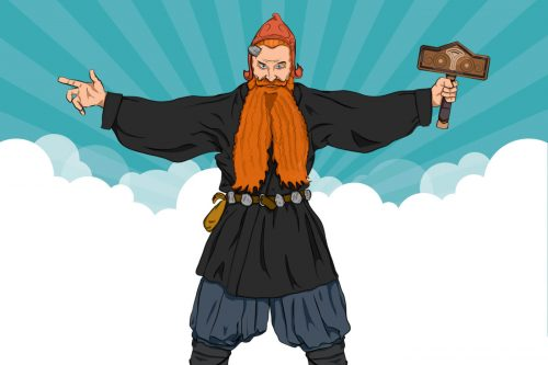 Cartoon of a powerful man with long red beard standing with arms outstretched holding his hammer