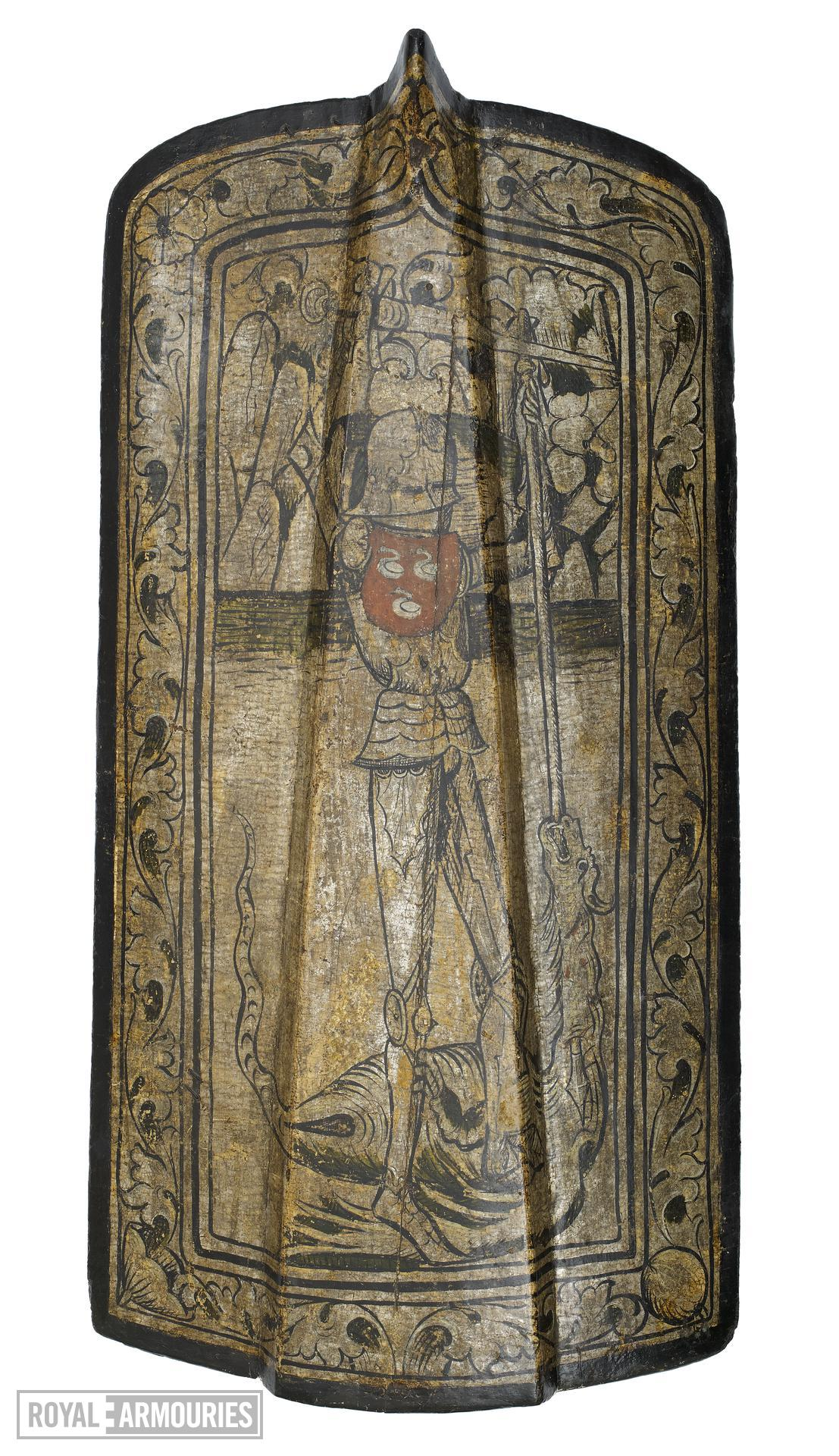 Rectangular shield decorated with image of St George and the Dragon