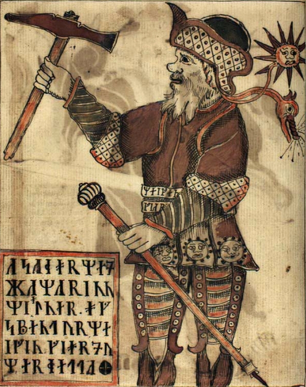 Image of Thor with Mjolnir from an 18th century manuscript