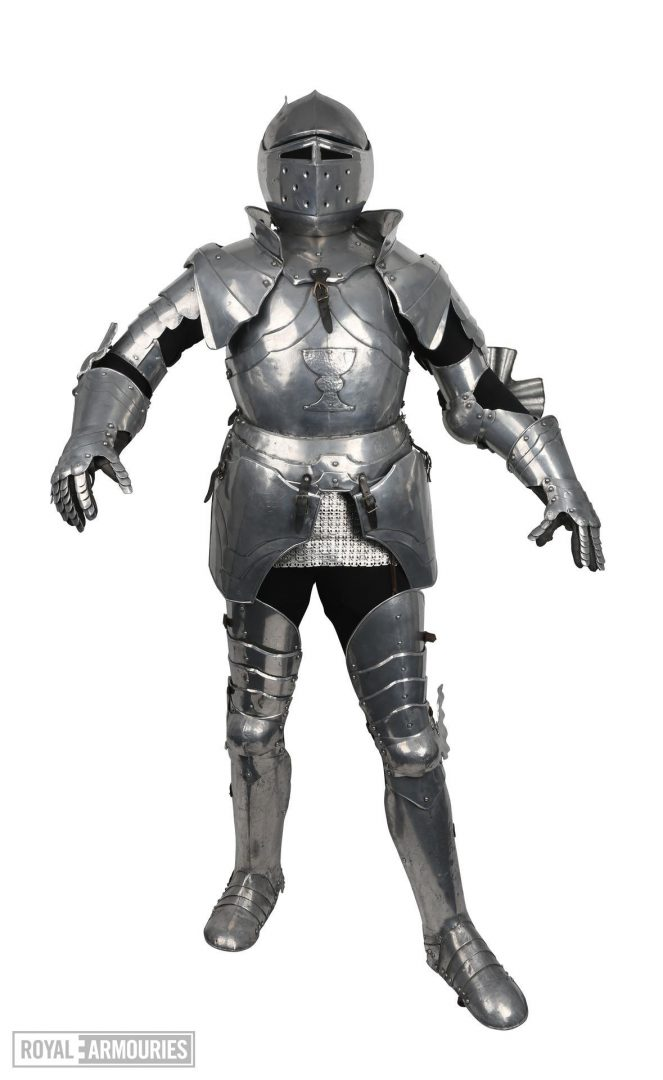 Full suit of plate armour. Early 16th century inspired but has small 'wings' on helmet either side of the head