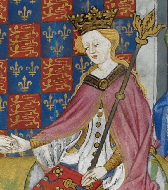 Queen Margaret of Anjou with a sceptre in her left hand and reaching to her husband with her right hand.