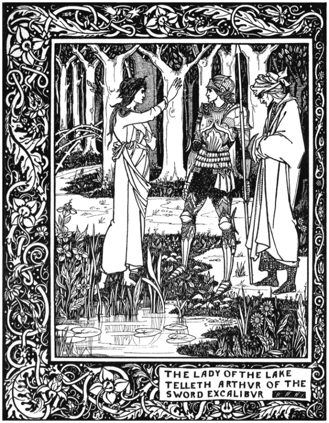 Image showing the Lady of the Lake telling King Arthur about the sword called Excalibur