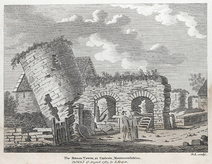 Drawing of the ruined Roman fort at Caerleon