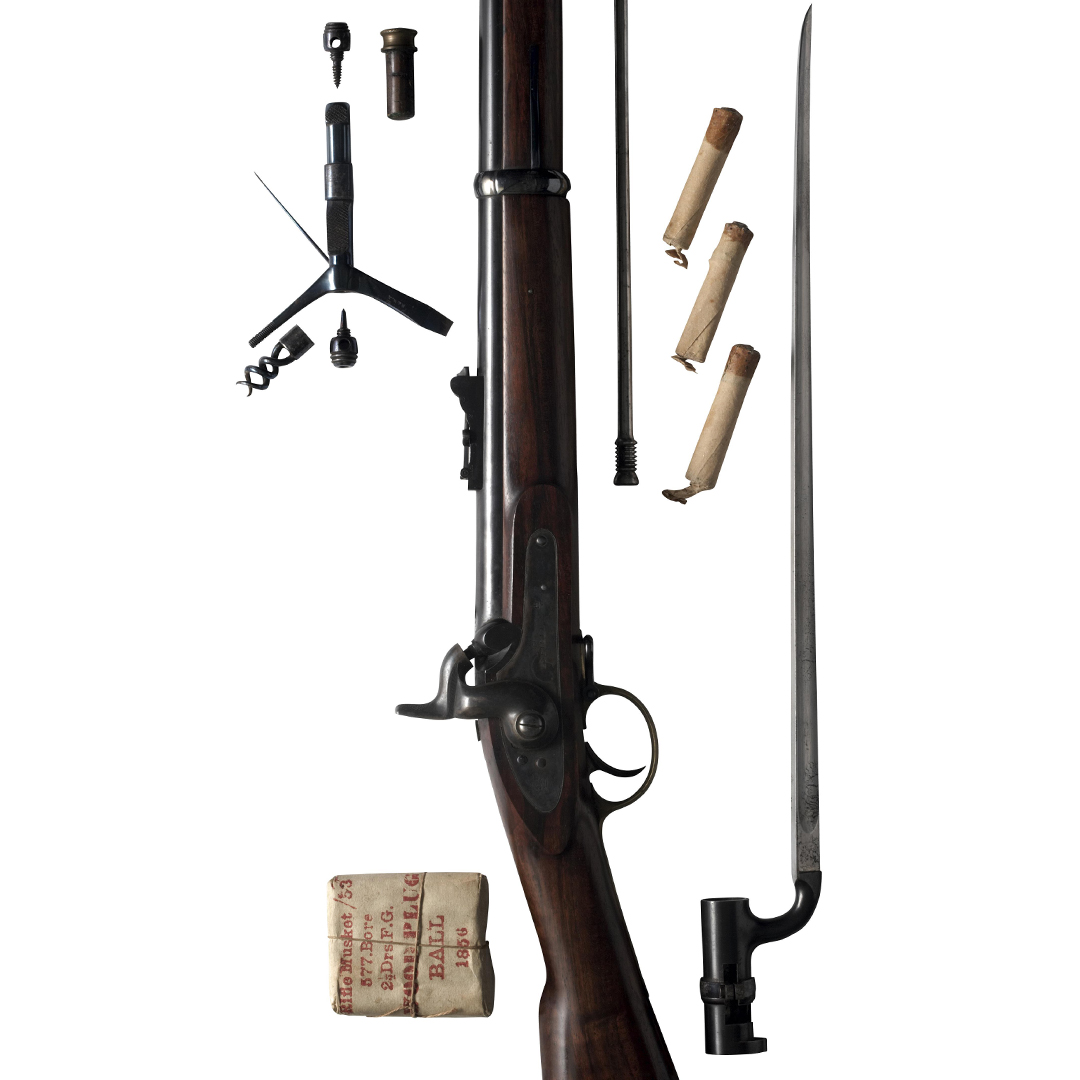 Muzzle loading musket with cartridges and bayonet