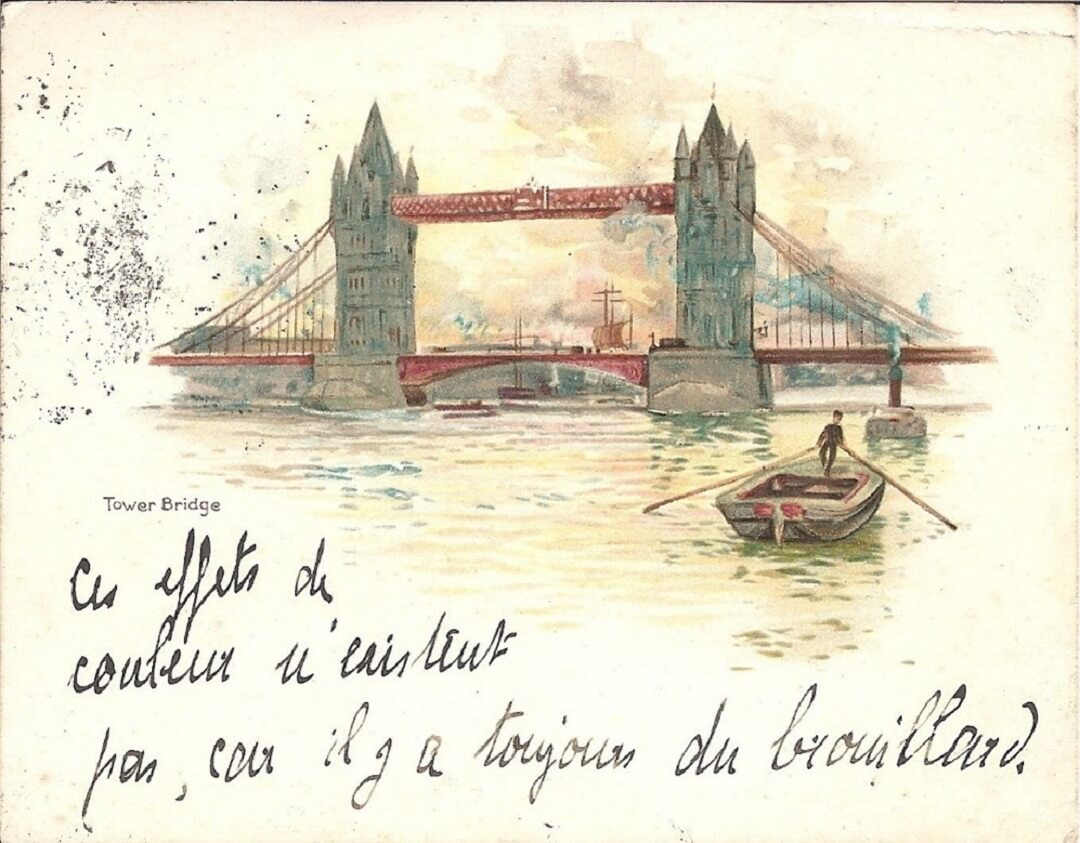 A painting of tower bridge and rowboat