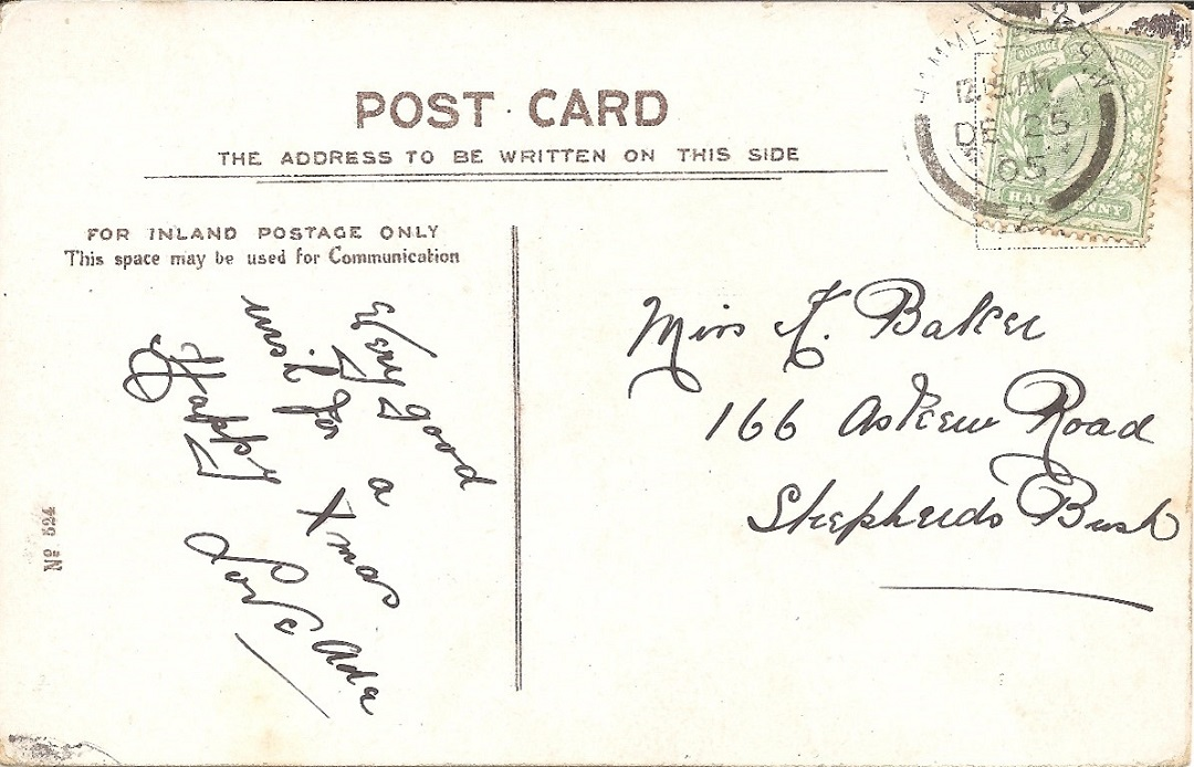 A postcard with address and date on the back