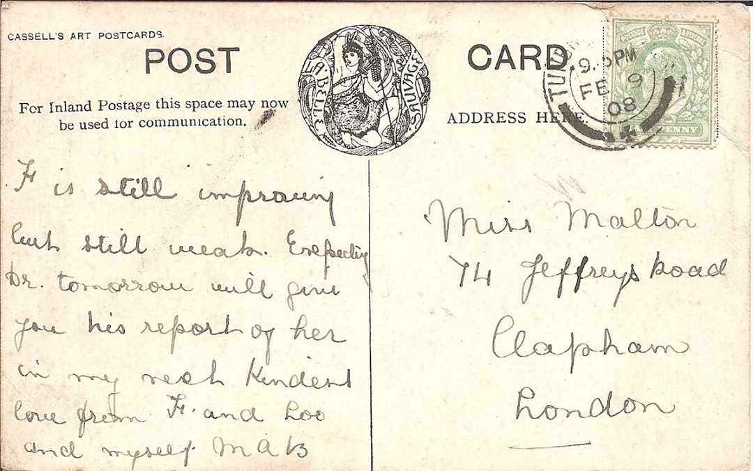 A postcard with a massage and postage stamps on it
