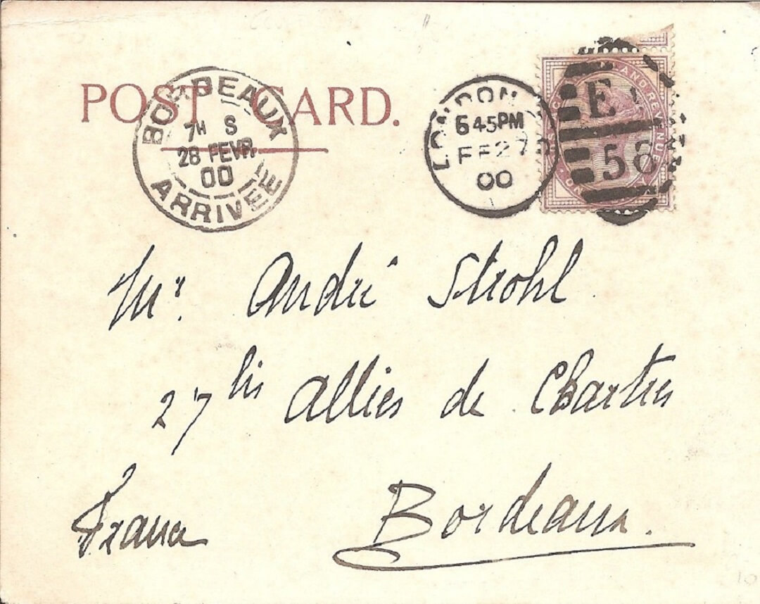 Postcard with a message in french and postage stamps