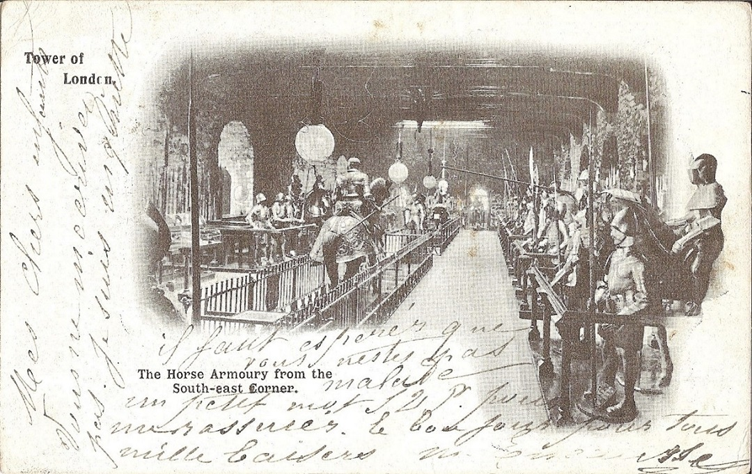 Postcard with a museum display of armour