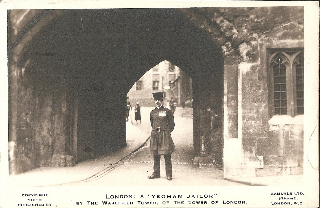 Tower guard under a stone arch