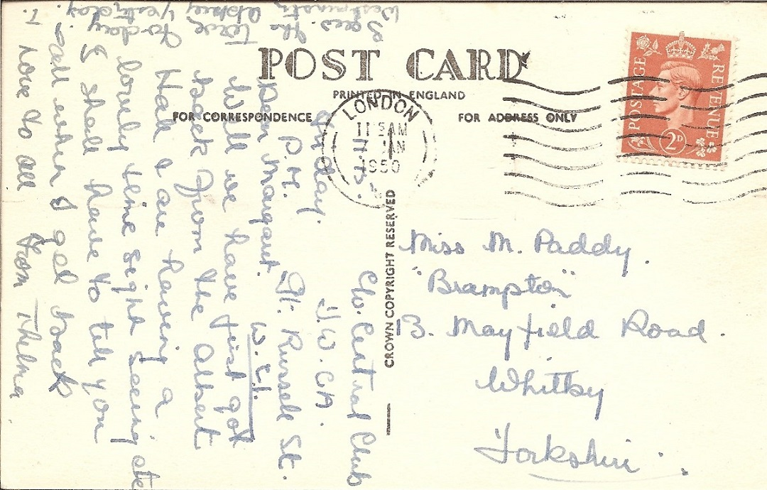 Postcard message
