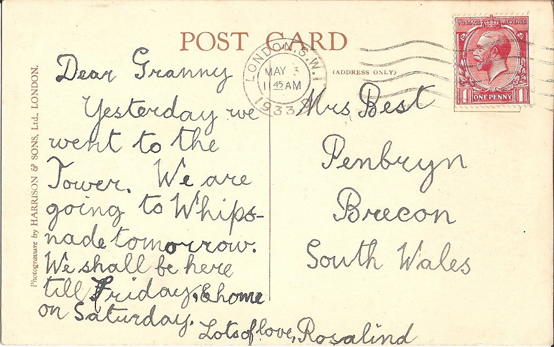 Postcards with handwirtten message and red stamp