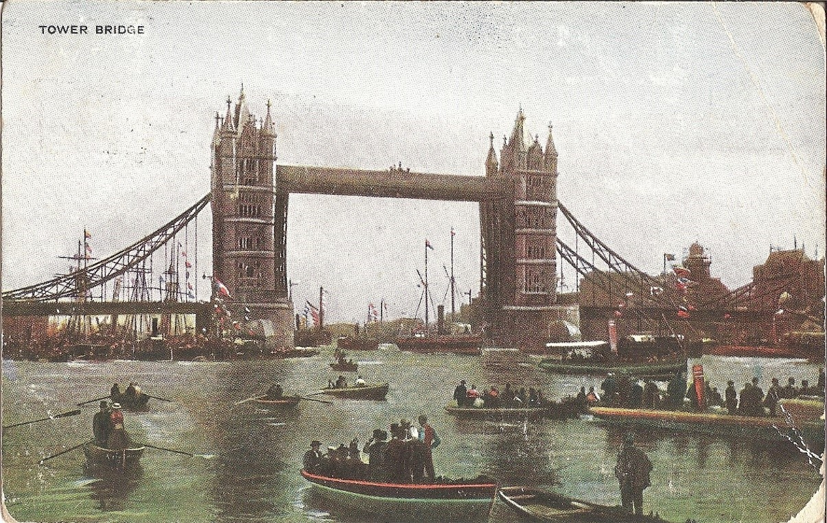 Tower bridge postcard in colour