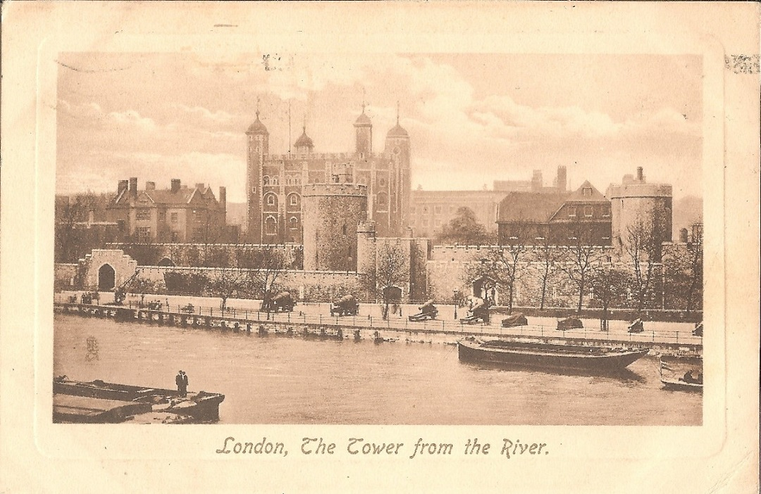 Sepia image of the white tower