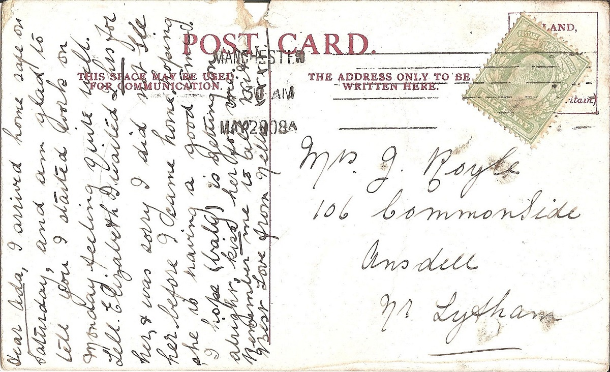A handwritten postcard
