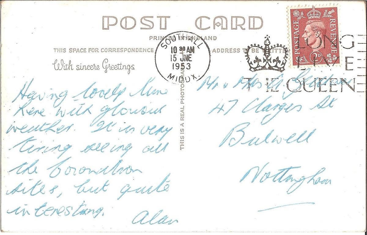 Hand written text on a postcard