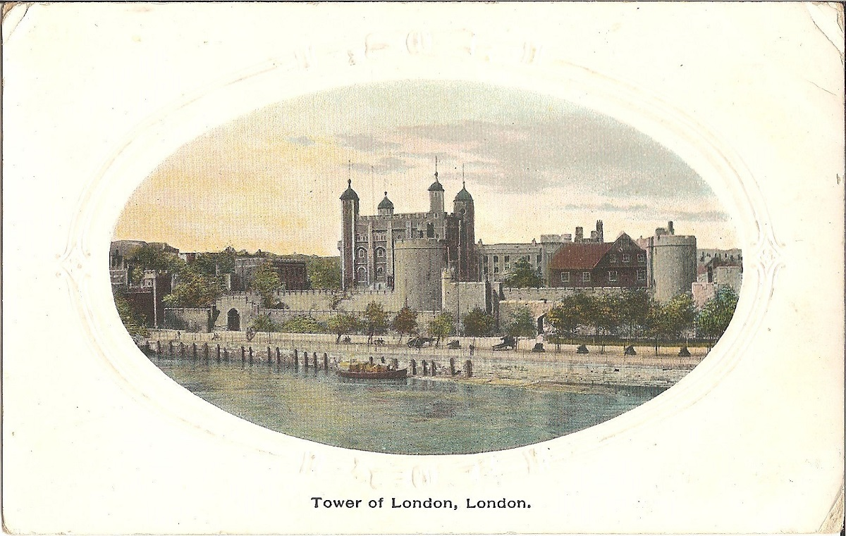 The White Tower and surrounding buildings on a postcard in a oval frame