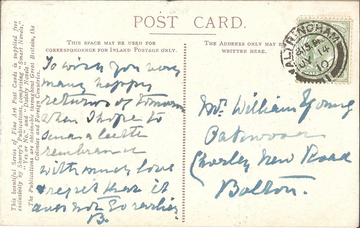 Hand written postcard with a green stamp