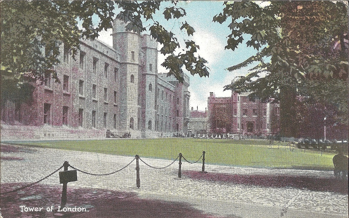 View of the towers grounds on a postcard
