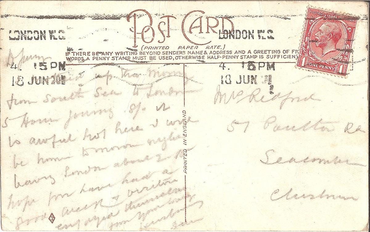 Harnd wirtten postcard with red stamp