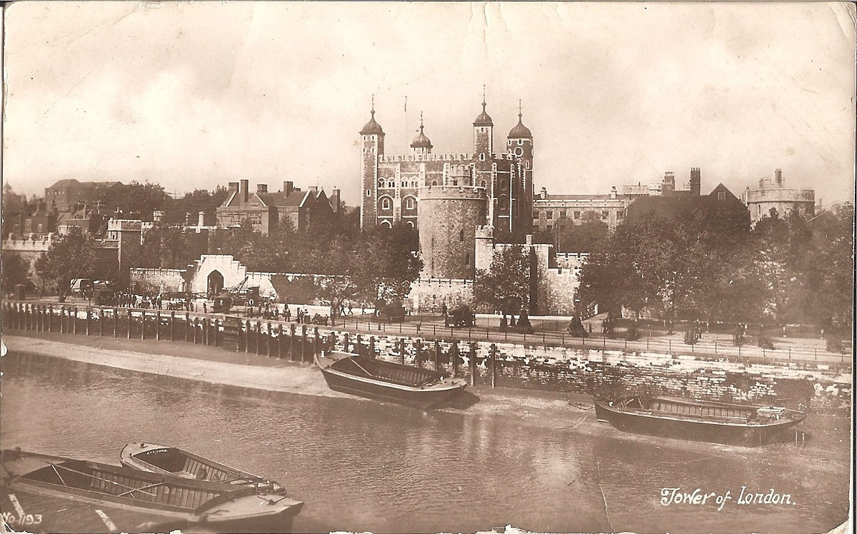 Sepia view of the white tower and river