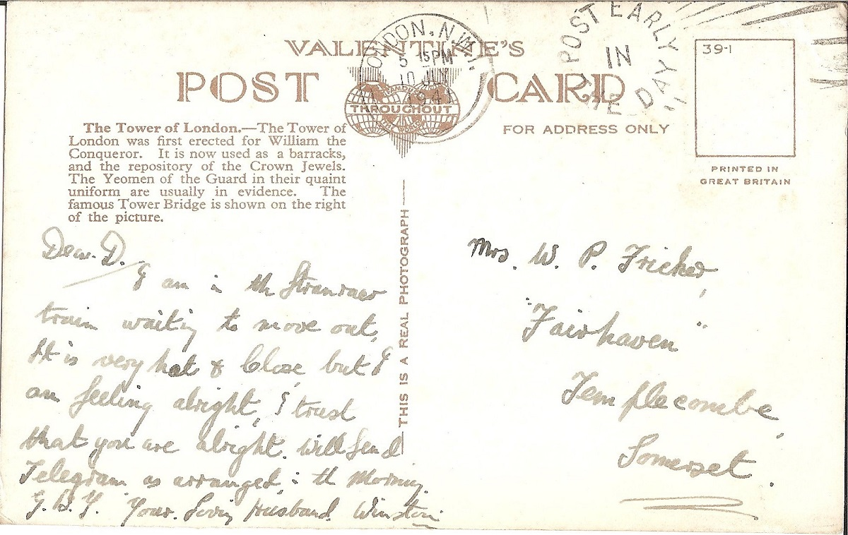 A hand written postcard with no stamp