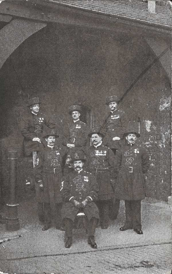 A group of Yeoman warders have their photo taken