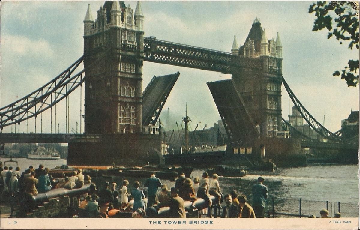 The Tower Bridge on a coloured postcard