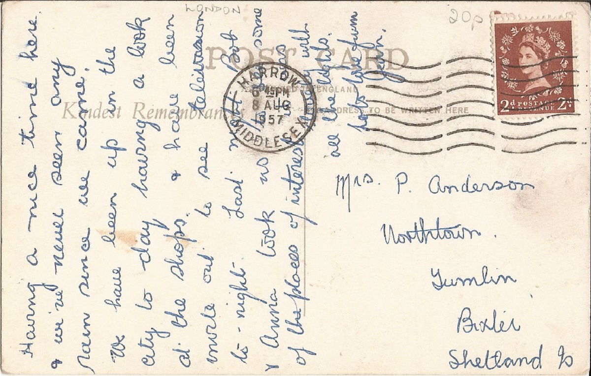 Hand written postcard with red stamp