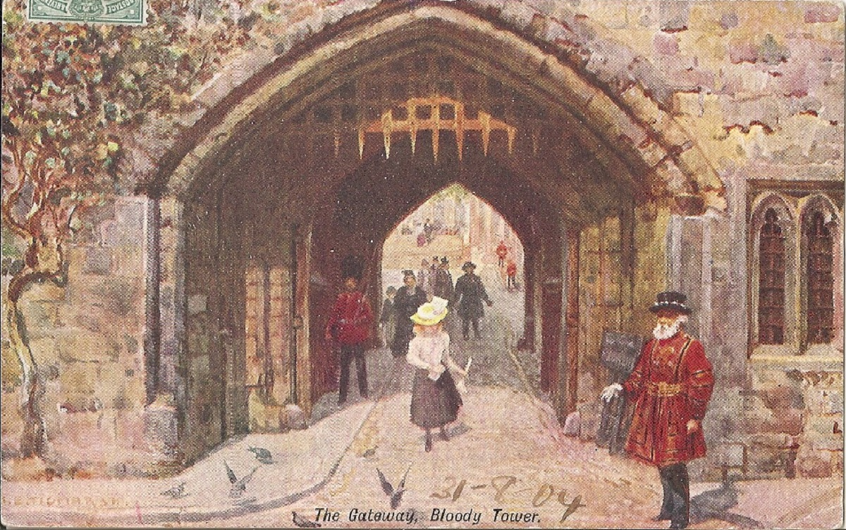 A painting of a castle gateway with a guard adn young woman. The gateway to the bloody tower